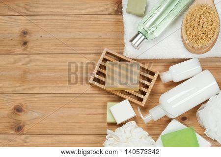Toiletry Set. Soap Bar And Liquid Shampoo, Shower Gel, Body Milk, Towel. Spa Kit. Top View