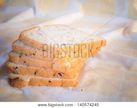 cereal bread in the morning . Placed on brown cloth.