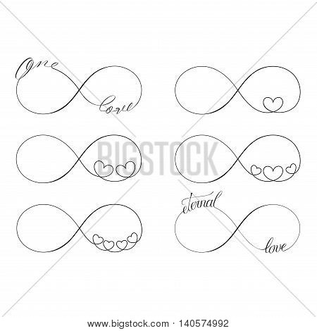 Popular love infinity symbols set for tattoo