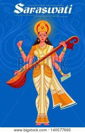 Indian Goddess Saraswati playing veena. Vector illustration