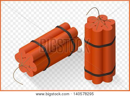 Red Dynamite bomb isometric flat vector 3d illustration isolated on white background