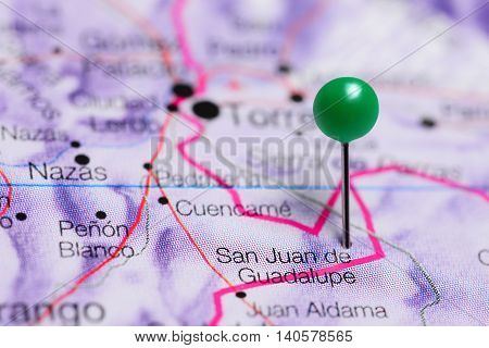 San Juan de Guadalupe pinned on a map of Mexico
