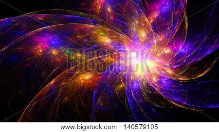 Star clusters galaxies. Fireworks colors. 3D surreal illustration. Sacred geometry. Mysterious psychedelic relaxation pattern. Fractal abstract texture. Digital artwork graphic astrology alchemy magic poster