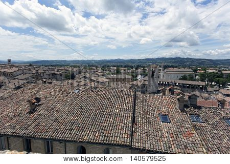 Gubbio Umbria Italy view of the roof