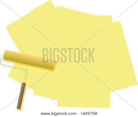 A illustration of a roller filled with paint in cream or yellow poster