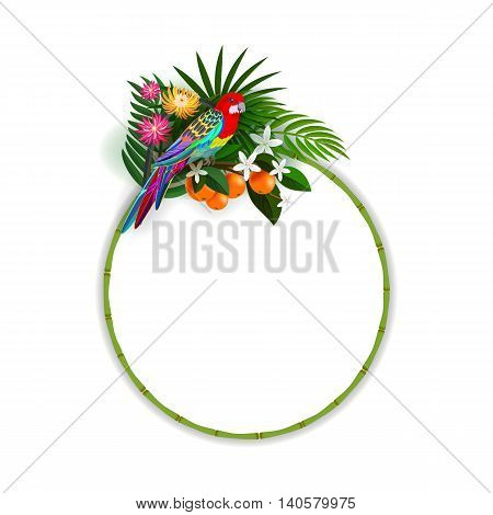 Sticker with parrot and tropical flowers. Round label with a bamboo frame. Parrot and palm leaves located at the top of the frame.