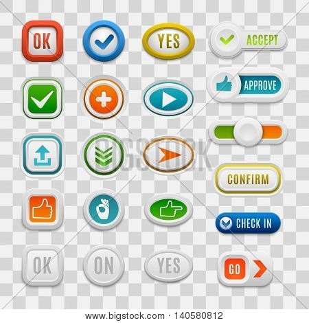 Set of interface web UI buttons, cancel, yes, no, play. Vector vote internet check web button set. Website accept ok button success mark approved tick concept.