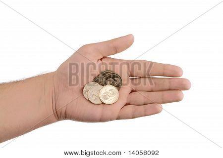 Explotación de monedas de oro de la mano