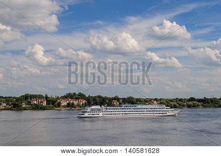 YAROSLAVL, RUSSIA - AUGUST 13, 2013: passenger ship Mikhail Sholokhov on Volga river