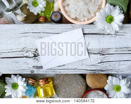 Spa and natural cosmetics leaflet concept with a blank card for a text
