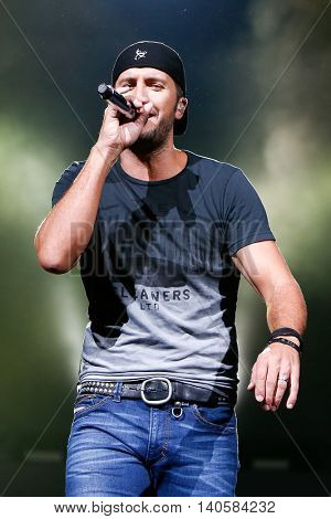 HARTFORD, CT-SEP 13: Singer Luke Bryan performs in concert at XFINITY Theatre on September 13, 2014 in Hartford, Connecticut.