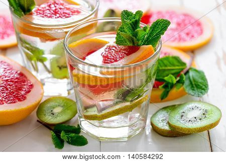 Infused water with grapefruit kiwi and mint refreshing vitamin C cooler perfect spa drink