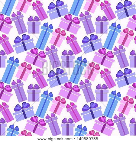Gift boxes seamless pattern. Pattern for fabric print, wrapping or packaging paper design. Blue, violet lilac colorful boxes with ribbon and bow on light background. Vector illustration stock vector.