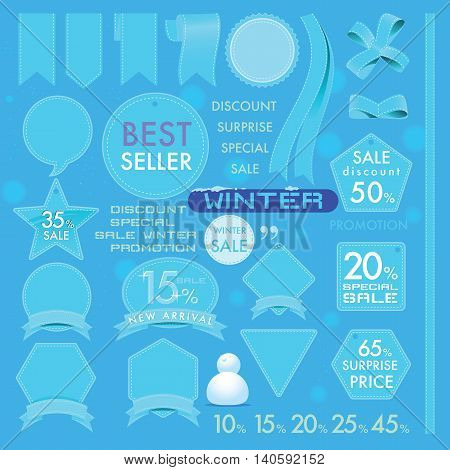 Vector element design set of leather commercial labels and ribbon templates on Winter concept tone. This vector file is organized in layers to separate Graphic elements from Text and leather.