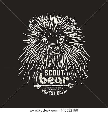 Stock vector linocut with a picture of bear. Graphic design for t-shirt. White print on black background