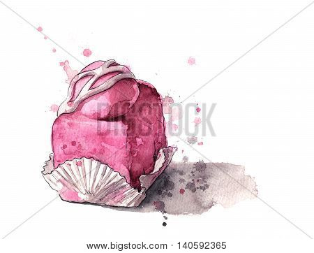 French fancy cake with pink icing on a white background. Painted with watercolours.