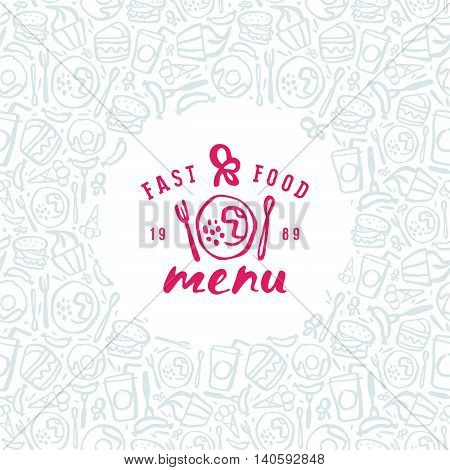 Stock vector fast food cover for menu. Print on white background