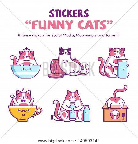 Vector stickers Stickers Funny Cat for Social Media Messengers y for print