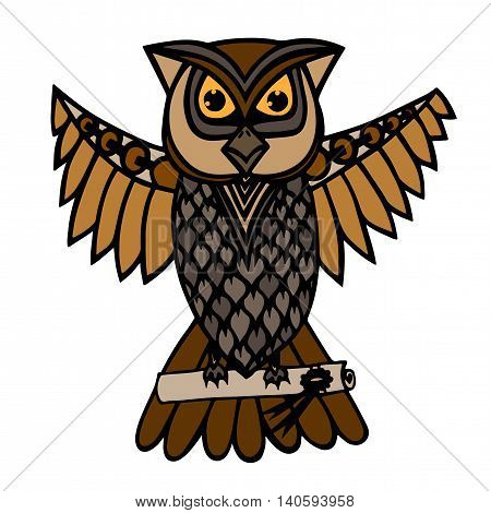 Isolated broun owl which carries a scroll with a message. Illustration for anti stress coloring book tattoo poster print t-shirt.