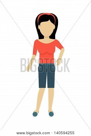 Female character without face in red blouse and shorts vector in flat design. Woman template personage illustration for summer concepts, fashion app, logos, infographic. Isolated on white background.