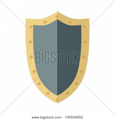 Warrior big shield. Blue shield with gold trim around the edge. Warrior armor. Game object in flat design isolated on white background. Vector illustration.