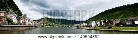 Cochem Germany - July 17 2016: Panorama of Mosel river and Cochem city in Germany