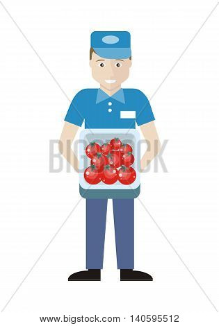 Profession series. Young man sales assistant, merchandiser with tomatoes in track. Seller holds box in his hands. Shop assistant isolated on white. Salesman on his working place. Vector illustration