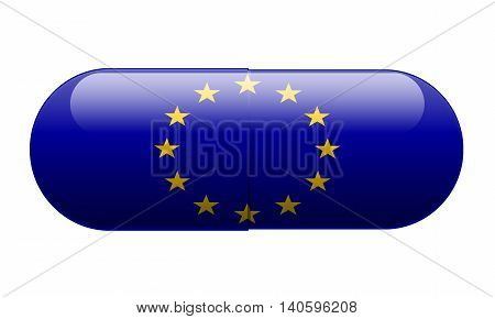 Pill wrapped in a European Union Flag illustration.