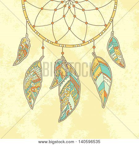 Hand drawn Dreamcatcher on textured paper background. Native Indian talisman. Vector illustration.
