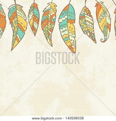 Background with tribal feathers, dream catcher and place for text. May be used like template for card, postcard, scrapbook, banner, congratulation. Boho style. Vector illustration.