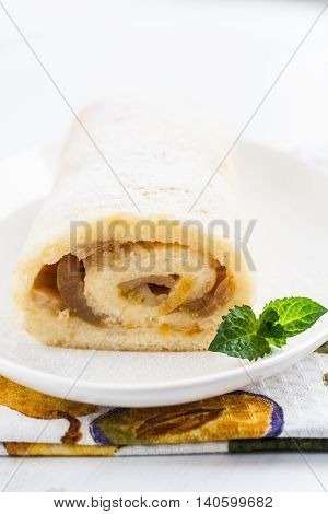Roulade With Pear Filling, Mint And Cup