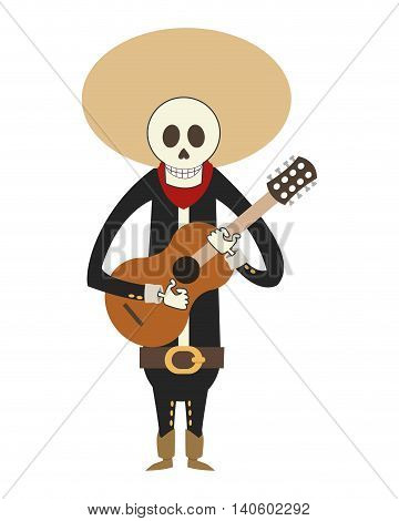 flat design skeleton mariachi icon vector illustration