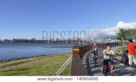 Nice View Of Taipei Central River Bike Path, Taiwan