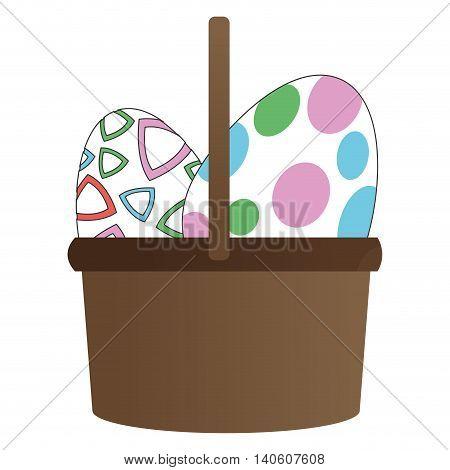 flat design easter egg in basket icon vector illustration