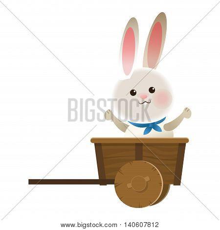 flat design rabbit cartoon in wagon icon vector illustration