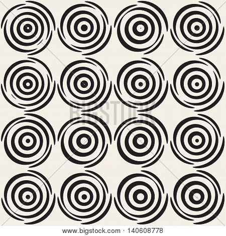 Vector Seamless White And Black Hand Drawn Concentric Circles Pattern