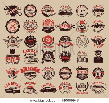 Big set of car service taxi tire service labels and badges. Design elements for logo label emblem badge sign. Vector illustrations.