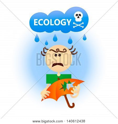 Economic problem concept of world ecology. Vector illustration of a sad balding man with a holey umbrella and a cloud with acid rain.