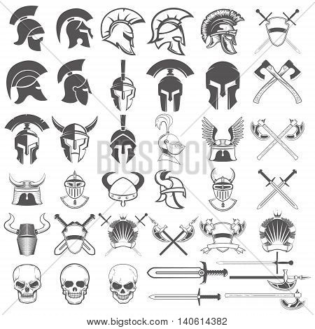 Set of ancient weapon helmets swords and design elements. Design elements for logo label emblem sign badge .Vector illustration.