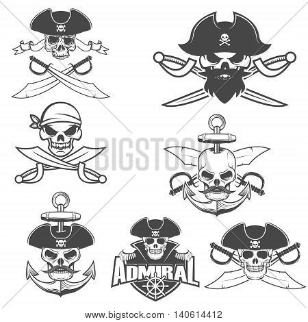 Set of pirate skulls with swords. Design element for logo label emblem sign brand mark. Vector illustration.