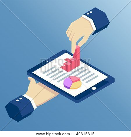 isometric hand holds the tablet and pulls from it a bar graph isometric design infographic on tablet with hands business concept web analytics