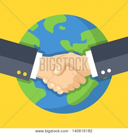 Business handshake and Earth. Global business, partnership. Two hands shaking one another. Flat design vector illustration