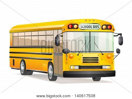 vector illustration of school bus isolated on white
