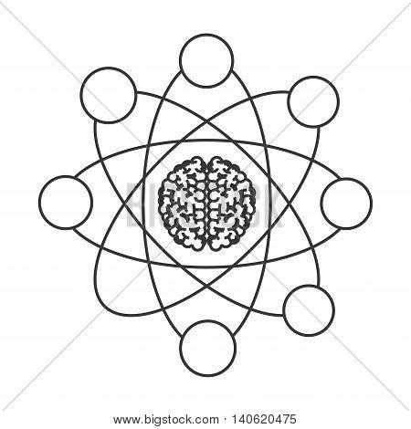 flat design cartoon atom icon vector illustration
