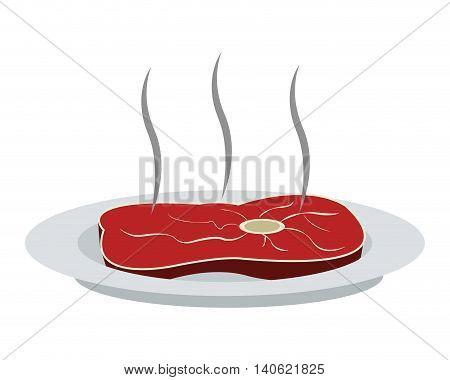 flat design beef steak on plate icon vector illustration