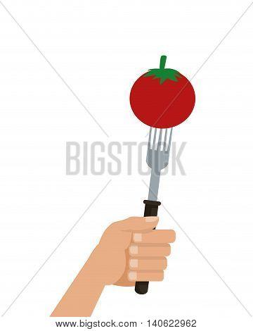 flat design tomato on fork icon vector illustration