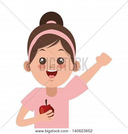 flat design happy little girl holding apple icon vector illustration