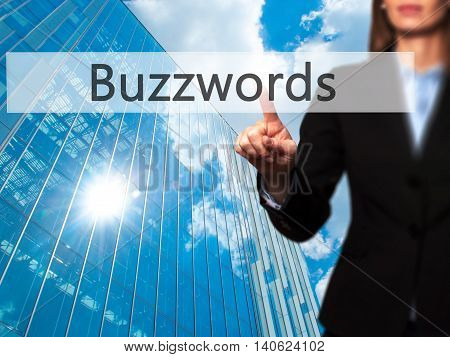 Buzzwords - Businesswoman Pressing High Tech  Modern Button On A Virtual Background