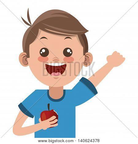 flat design happy boy cartoon holding apple icon vector illustration