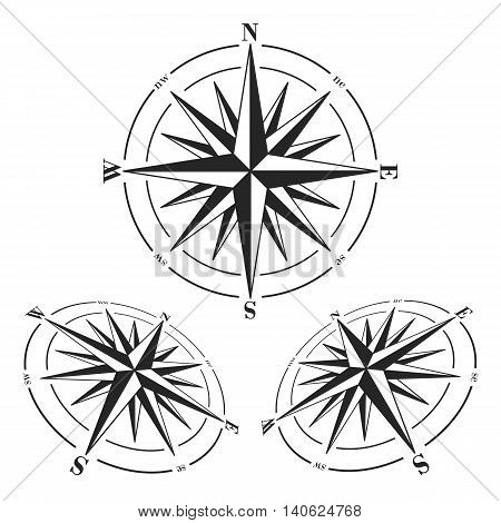 Compass roses set isolated on white background. Windroses set. Vector compass roses illustration.
